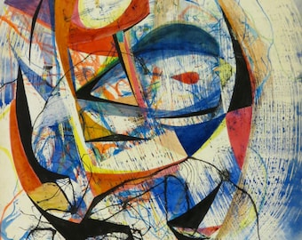 Original 1950's Stanley Kazdailis Abstract Modernist Painting Chicago School of Design