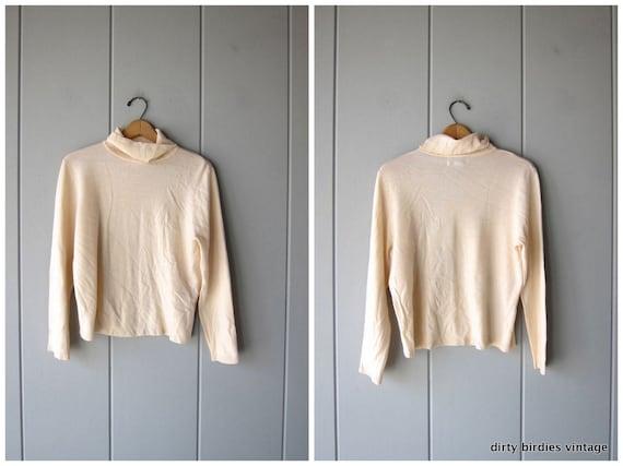 90s Pendleton Sweater Rib Knit Turtleneck Cream White Ribbed Wool Shirt Thin Sweater Top 1990s Minimal Preppy Long Sleeve Shirt Womens Large