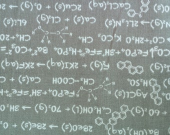 Riley Blake Formulas Chemical Compounds on Gray Cotton Fabric Novelty by Becky Marie Designs 1 Yard