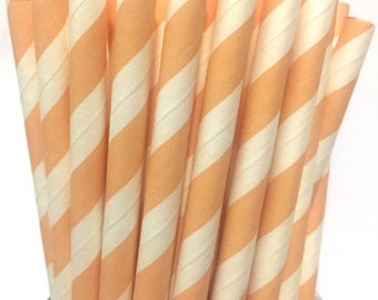 2.85 US Shipping -Peach Stripe Paper Straws  -  Peach Stripe Straws- Cake Pop Sticks