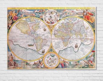 Historical maps etsy world map petrus plancius 1594 vintage historical maps old large map xl size canvas paper gumiabroncs Gallery