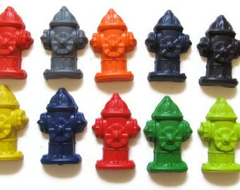 Fire Hydrant Crayons set of 10 - Fireman Crayons - Fireman Party Favors - Fireman Birthday Party Favors - Fire Hydrants - Kids Fireman Gifts