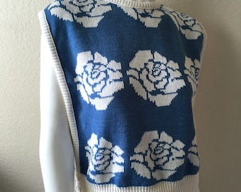 Vintage Women's 80's Sleeveless Sweater, Floral, Knit Top by Separate Scene (M)