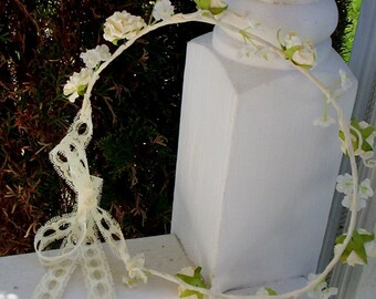 Bridal flower crown wedding headpiece veil accessory headwreath lace wedding hair wreath accessories flower girl halo Ivory Hairpiece