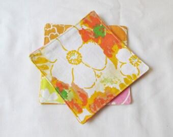 Reusable Cocktail Napkins Eco-Friendly - Orange Vintage Coasters Floral - Fabric Botanical Retro Homewares