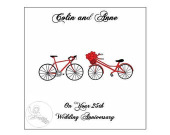 Handmade Personalised 25th Wedding Anniversary Card Road Bikes Bicycle Hearts Silver