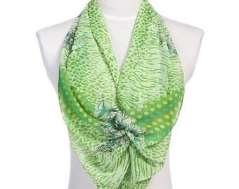 Womens Scarf, Green Scarf, Floral Print Scarf, Leopard Print Scarf, Chiffon Scarf, Voile Scarf, Cotton Scarf, Fashion Scarf, Shawl