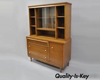 Vintage Bassett Mid Century Modern Walnut Hutch China Cabinet Bookcase Credenza
