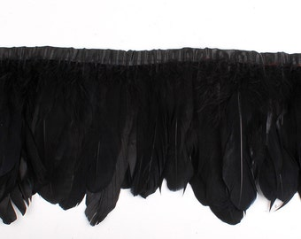 googe feather fringe trim 5-7inch wide 2 meters of black color
