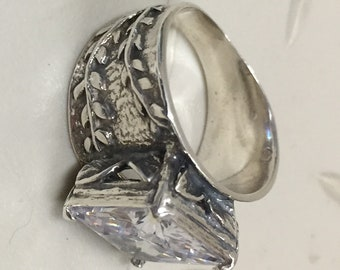 WOWZA Sterling and White Sapphire Ring