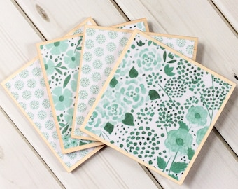 Set of Coasters, Set of Teal Coasters, Floral Coasters, Floral Home Decor, Teal Home Decor, Watercolor Coasters, Watercolour Decor, Coasters