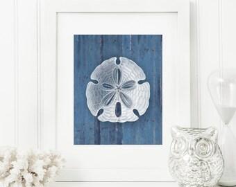 Sand Dollar Art Print, Rustic Art, Nautical Art, Rustic Wood Look 5x7, 8X10, 11x14 Seashell Art, Beach Decor, Nautical Wall Art, Wall Decor