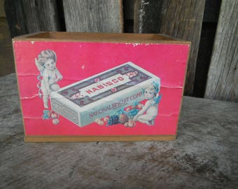 Small Wooden Advertising Box - Nabisco National Biscuit Company - Cherubs