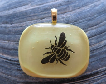 0075 - Bee on Yellow Fused Glass Pendant