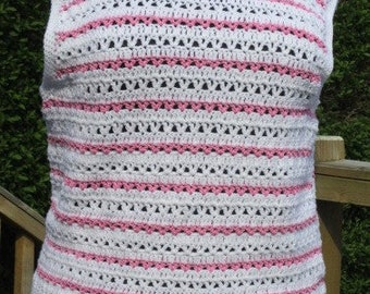 White Crochet Top With Pink Silky Stripes