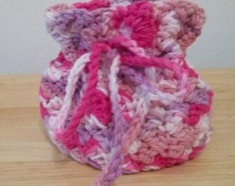 Purse - Crochet Mini Purse / Jewelry Bag - Cotton Yarn in Pink Mix Selfstriping