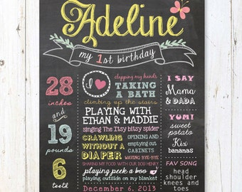 Any age Custom Birthday Chalkboard sign - Gold Rustic Baby Girl First Birthday Chalkboard Poster - DIGITAL FILE!