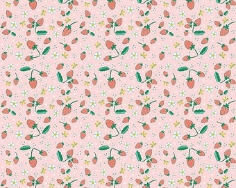 ON SALE Penny Rose Fabrics Bunnies and Blossoms Strawberries Pink