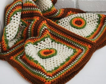 Vintag Boho Handmade Afghan Throw/Blanket/Crochet/Throw/Crocheted/Handmade