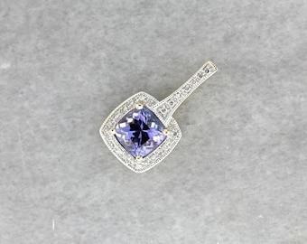 Contemporary Tanzanite Halo Pendant, Modern Tanzanite and Diamond Pendant, Tanzanite Pendant QVEYZM-D