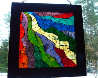 "Stained Glass Mosaic Window Art- ""Fluidity"""