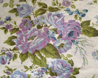 "Blue and purple roses on white background, new , cotton, approx 44"" x 116"""