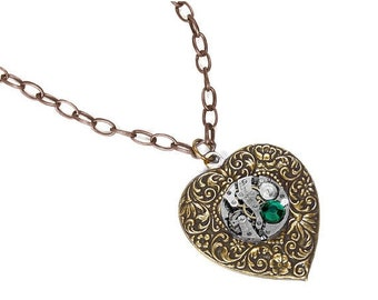 Steampunk Jewelry, Women HEART Necklace Silver Watch EMERALD Crystal, Wedding Anniversary, Girlfriend Valentine Gift - Jewelry by edmdesigns
