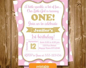 Printable Pink and Gold Girls 1st 2nd 3rd Any Age Birthday Invitation Polkadots Invitation Party