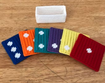 Dice Coasters Set of Six Plastic Canvas -- FREE SHIPPING