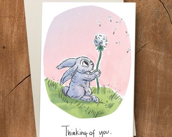 Rabbit and Flower Sympathy Thinking of You Card