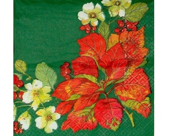 Set of 3 NOE044 round poinsettia, Holly green background paper napkins