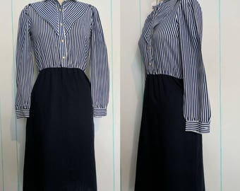 Blue and White Striped Dress Size 8