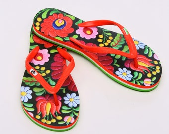 Hungarian Matyo Embroidery Flip Flop (printed surface)