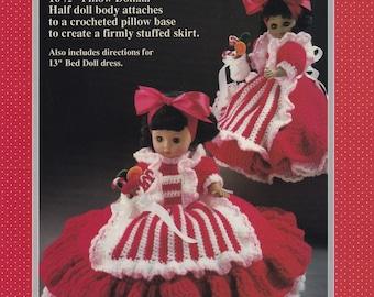 Peppermint Candy, Fibre Craft Christmas Doll Clothes Crochet Pattern FCM162 Dress Apron Petticoat Pillow Form
