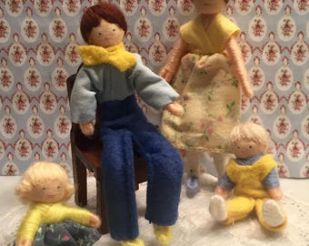 Original Halfpenny Pocket Doll Family Made in England