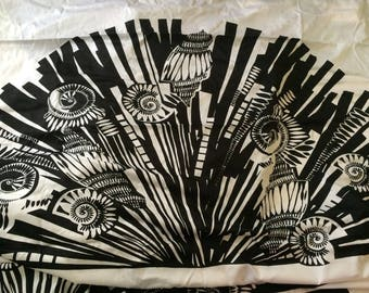 Black and white silk cotton fabric
