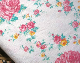 Vintage French Fabric, Rose Barkcloth Fabric, Quilting Fabric, French Florals, Cabbage Roses, Pink Rose Fabric, Pink Barkcloth, Vintage Rose