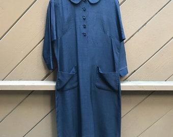 Vintage 60s Navy School Teacher Shirt Dress