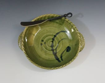 Translucent Green Wheel Thrown Stoneware Baker with Spreader for Brie, Baked Dip, Olives