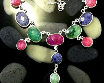 Silver necklace with sapphire and ruby in 925 sterling silver 5057