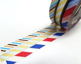 MT Slim Metallic and Stripes Washi Tape Set, MT Twist Cord C Washi Tape Set