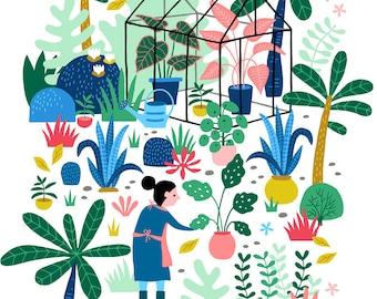 Pre-order Garden Kitchen Tea towel greenhouse plants, linen cotton / theedoek - design by Heleen van den Thillart