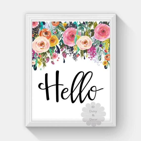 Printable Wall Art For Living Room: Hello Saying Printable Wall Art Nursery Playroom Print Home