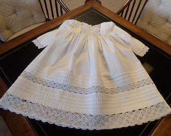 Antique Victorian Baby Toddler Dress Cotton Pintucks Handmade