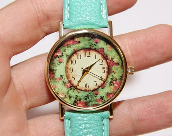 Women's watches, watches with flowers, vintage watches, stylish watches, wedding watches, watches with roses,turquoise watch,leather watches