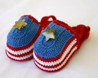 Patriotic baby sandals newborn crocheted shower gift 0-3 month infant booties cotton crochet thread summer footwear red white blue gold star