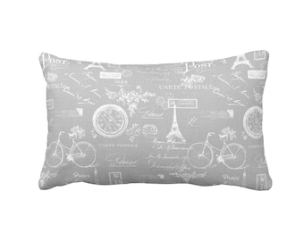 11 Sizes Available: Gray Lumbar Pillow Cover Gray Pillow Cover Grey Pillow Cover Decorative Pillow for Couch Shabby Chic Pillow Paris Pillow