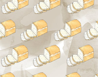 sliced bread watercolor handmade/digital seamless pattern