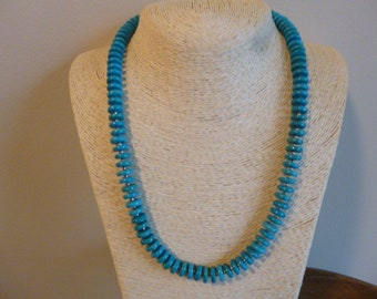 Turquoise Heishi Bead And Silver Native American Navajo Southwestern Necklace, BOHO, Handmade,