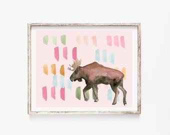 "Rainbow Moose 8x10"" Art Print"